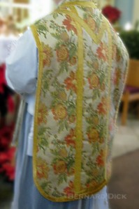 Nothing is sterile or stingy in this church. Even the vestments recall the bountiful life in Garden.