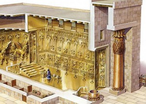 "The interior of Solomon's Temple was decorated in imitation of God's ""pleasure park"" with cherubim, palm-trees, and open flowers, all overlaid with gold. (Picture Source)"