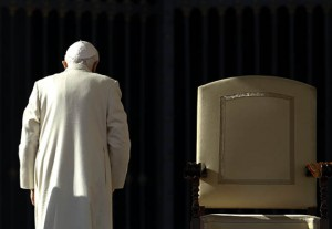 File photo of Pope Benedict XVI leaving at the end of his weekly audience in Saint Peter's Square at the Vatican