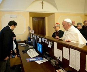 Pope Francis checking out of Conclave Hotel