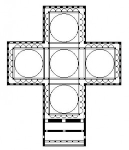 """Greek Cross Plan possibly used in Constantine's """"Church of the Holy Apostles"""" in Constantinople, 4th century"""