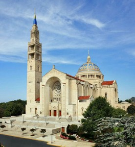 """Fig. 14 """"National Shrine of the Immaculate Conception"""", Washington D.C., 20th century. Byzantine Revival Style. In addition, the dome is meant to echo the dome of the U.S. Capitol building and the tower mimics the Washington Monument."""
