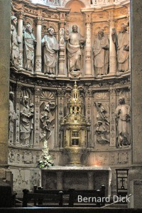 In the Book of Revealation we read of saints and angels around the Throne of God. The Church has often incarnated this vision in stone and paint around the earthly altar. Tabernacles are obvious references to the Holy of Holies and the presence of the Lord.