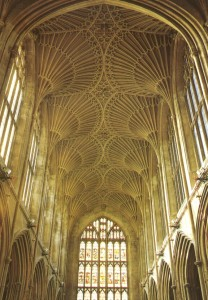 The ribs in this ceiling vault in the Cathedral of Bath, England, suggests the palm trees mentioned in the Garden of Eden and represented in Solomon's Temple.
