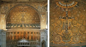 "The apse end of San Clemente Basilica in Rome displays a profusion of vegetation, saints, and angels, a heavenly vision post Redemption. (right) Dominating the apse in San Clemente –in the center of the Garden -is the ""tree of life""- the cross of Christ from which new life sprouts to fill the cosmos. (Pictures Source)"