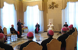 POPE LISTENS AS ARCHBISHOP DOLAN SPEAKS DURING MEETING WITH US BISHOPS FROM NEW YORK ON 'AD LIMINA' VISITS