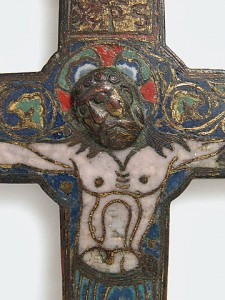 Processional Crucifix, ca. 1150, Possibly made in Santo Domingo de Silos, Spain, Champlevé enamel, copper-gilt, Gift of George Blumenthal, 1941. Photo Credit: http://www.metmuseum.org/Collections/search-the-collections/467727?rpp=20&pg=1&rndkey=20130821&ft=*&what=Enamels|Crosses&pos=7.