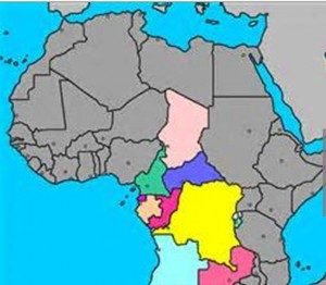 Central African Republic shown in yellow.