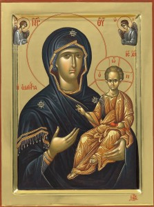 "Icon of the Theotokos ""Odigitria"" (""Directress""), painted by the Fathers of Vatopedi Monastery, Mount Athos"