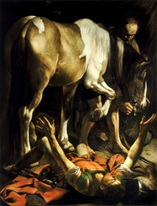 """The Conversion of Saint Paul"" Caravaggio, 1610, Santa Maria del Popolo, Rome. Besides the Crucifixion Catholic chancel imagery often displays snapshots from the history of redemption or salvation."