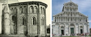 Fig. 7  In the left photo we see that the Lombard band under the eaves has become an arcade. It's called a 'blind arcade' because it's only decorative; the spaces in the archways are walled-in. The Pisa Cathedral on the right makes use of alternating tall blind arcades on the ground level and actual (although not practical) arcades on the levels above.
